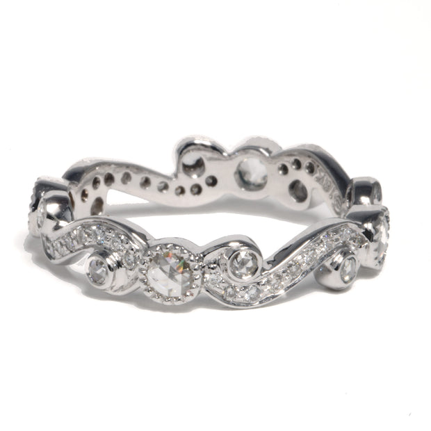 18kt White Gold Scroll Eternity Band