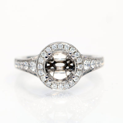 14kt White Gold Halo Diamond Semi-Mounting