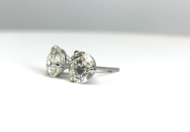 14K White Gold Martini Diamond Stud Earrings 1.81 ctw