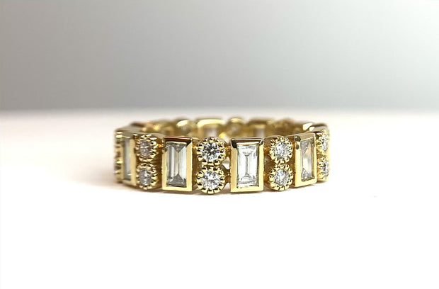 18K Yellow Gold Bezel Diamond Band