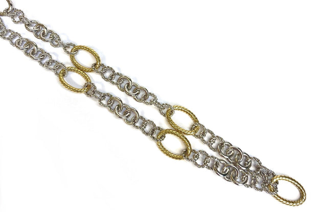 18K Yellow Gold & Sterling Silver Italian Cable Link Necklace