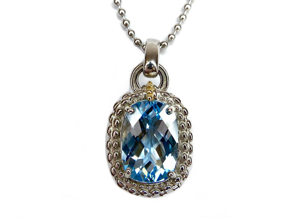 18K Yellow Gold & Silver Blue Topaz Necklace