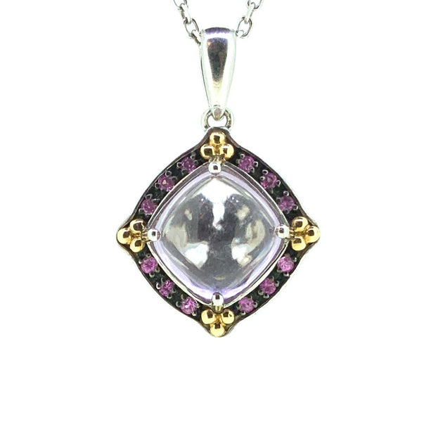Sterling Silver and 18K Yellow Gold Amethyst Pendant & Necklace