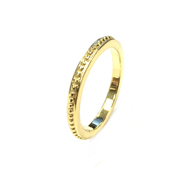 14K Yellow Gold Beaded Band