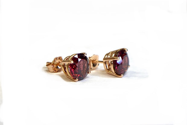 14K Rose Gold Rhodolite Garnet Stud Earrings