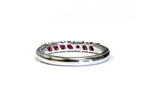 14K White Gold Ruby Band