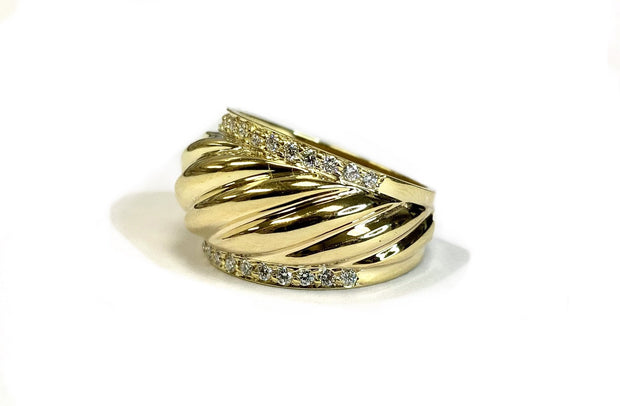14K Yellow Gold 'Au Collection' Diamond Fluted Dome Ring