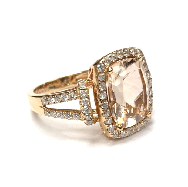 18K Rose Gold Morganite And Diamond Ring
