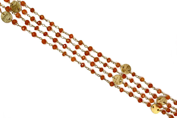 Carnelian Beads & Vermeil Chain Necklace