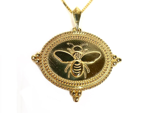 14K Yellow Gold Bee Pendant