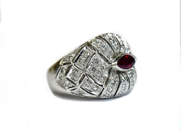 18K White Gold Wide Ruby and Diamond Band