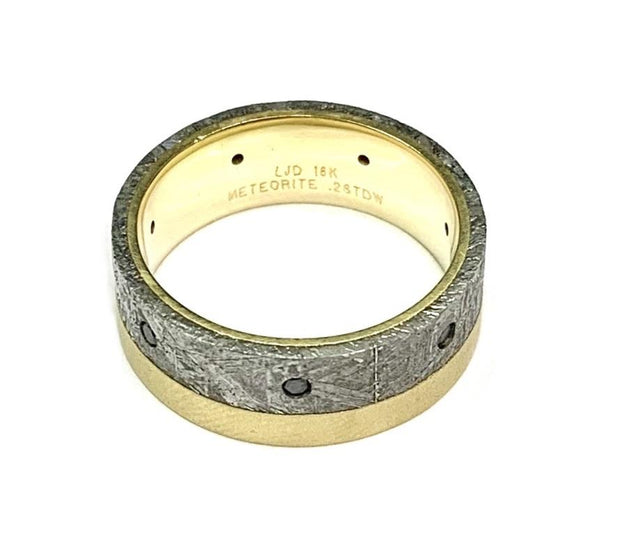 18K Yellow Gold Meteorite & Black Diamond Band