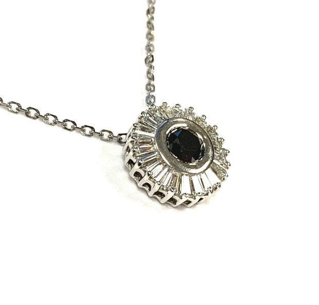 18K White Gold Black Diamond Necklace