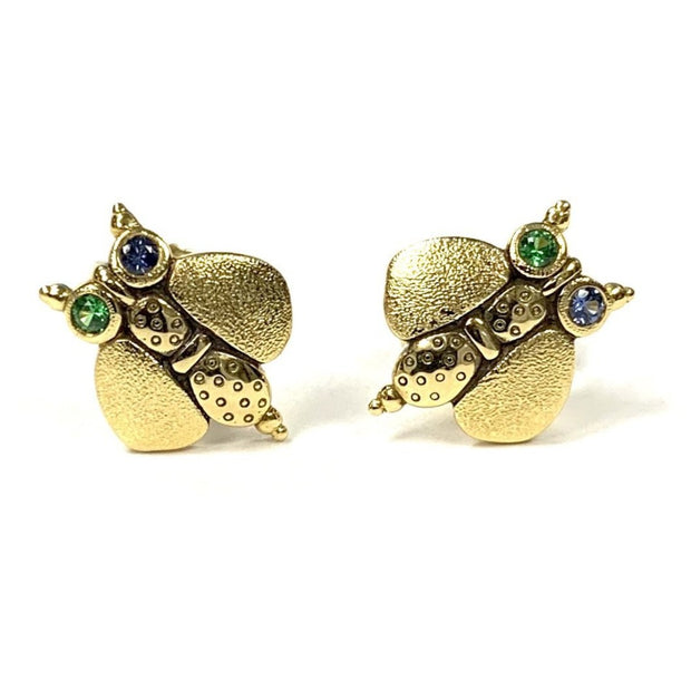 18K Yellow Gold 'Entomology' Sapphire Earrings by Alex Sepkus