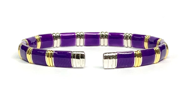 18K Yellow gold Vermeil, Diamond & Royal Purple Enamel Bracelet By Henderson