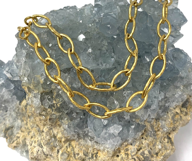 22K Gold Bonded Sterling Silver Oval Necklace