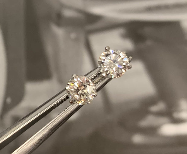 14K White Gold Diamond Martini Stud Earrings 1.05 ctw