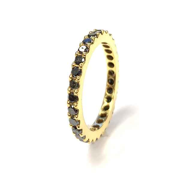 18K Yellow Gold Black Diamond Band