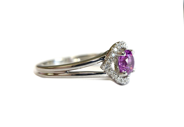 18K White Gold Pink Sapphire & Diamond Halo Ring