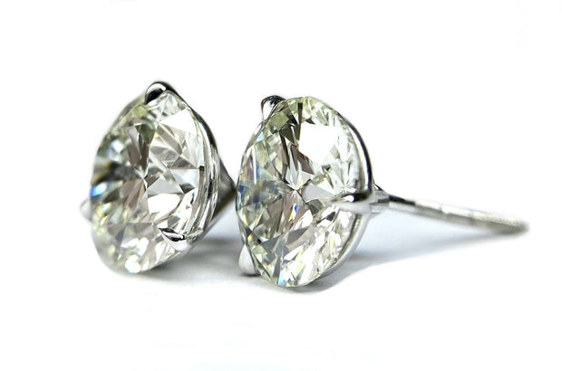 14K White Gold Diamond Studs 4.02 ctw