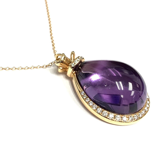 18K/14K Rose Gold Amethyst Cabochon Pear Necklace and Pendant