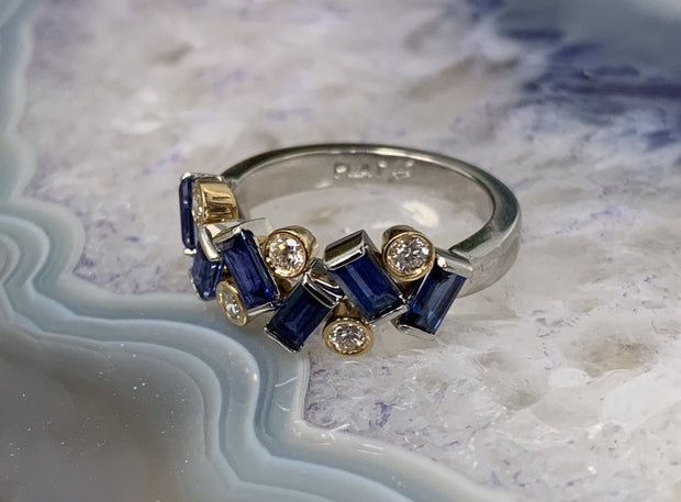 Platinum and 18K Yellow Gold Sapphire and Diamond Ring