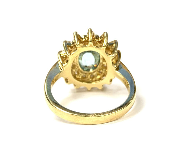 18K Yellow Gold Blue Zircon Ring