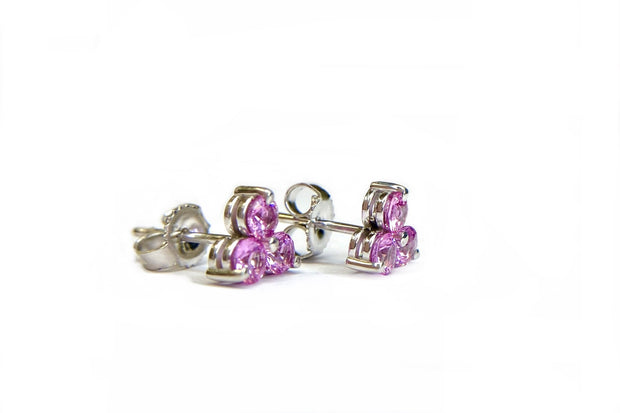 14K White Gold Pink Sapphire Cluster Earrings