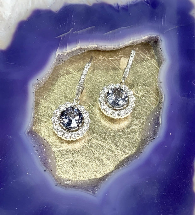 14K White Gold Diamond and Grey Spinel Halo Earrings