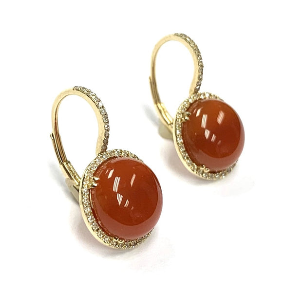 14K Yellow Gold Earrings with Round Cornelian Cabochon Gemstones