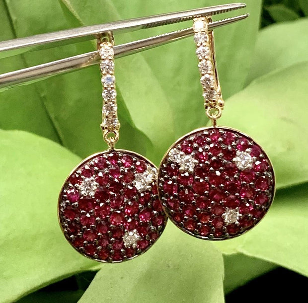 14K Yellow Gold Ruby Drop Earrings