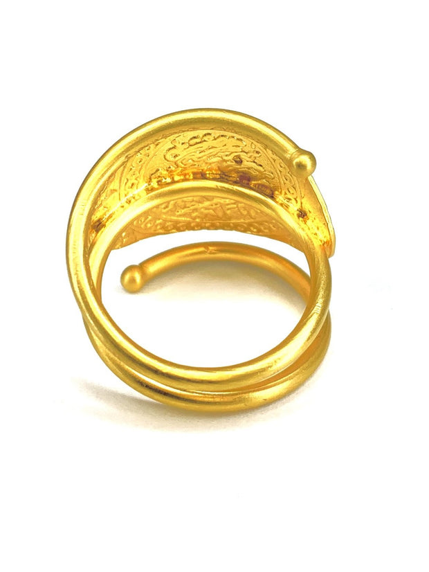 22K Bonded Yellow Gold over Sterling Silver Engraved Ring