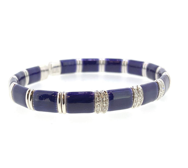 Sterling Silver and 18K Blue Firenze Bracelet by Henderson Collection