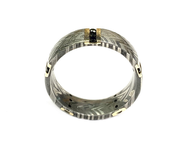 14K Yellow Gold Black Diamond & Zebra Damascus Steel Band.