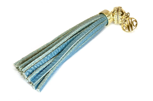 Leather 'Baja' Bluestone Tassel by Clara Williams Company