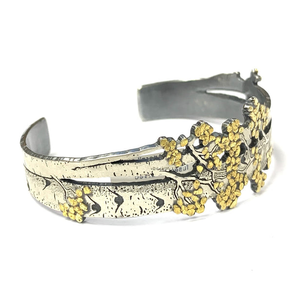 "CA Placer Yellow Gold and Silver ""Aspen Adorn"" Bracelet by Wolfgang Vaatz"