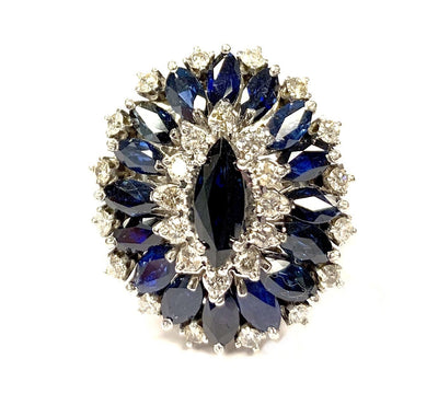18K White Gold Sapphire and Diamond Vintage Ring