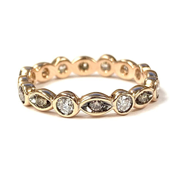 18K Rose Gold Champagne Diamond Band