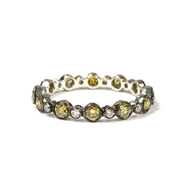 18K White Gold/Black Rhodium Diamond Stacking Band