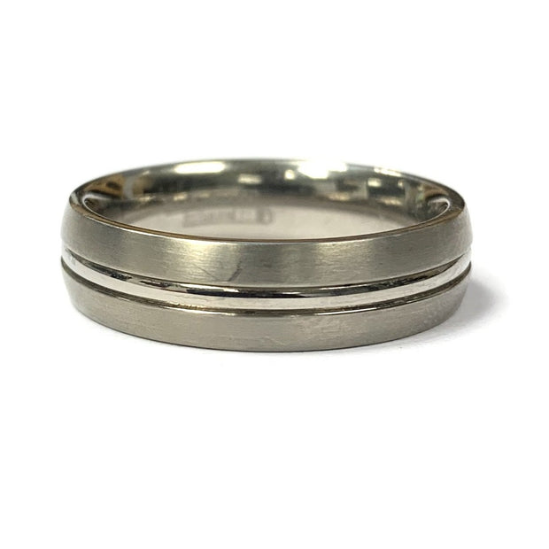 Titanium Satin and Polish Wedding Band