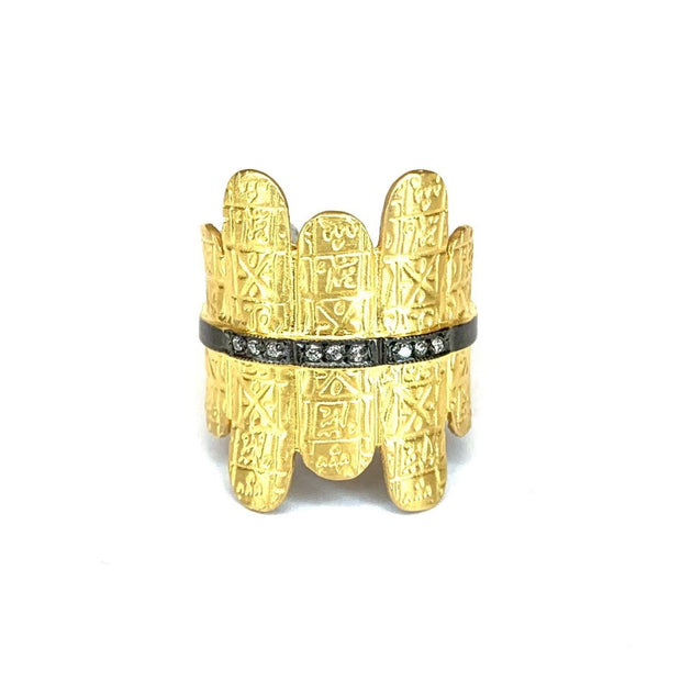 22K Bonded Yellow Gold over Sterling Silver Hieroglyphic Ring