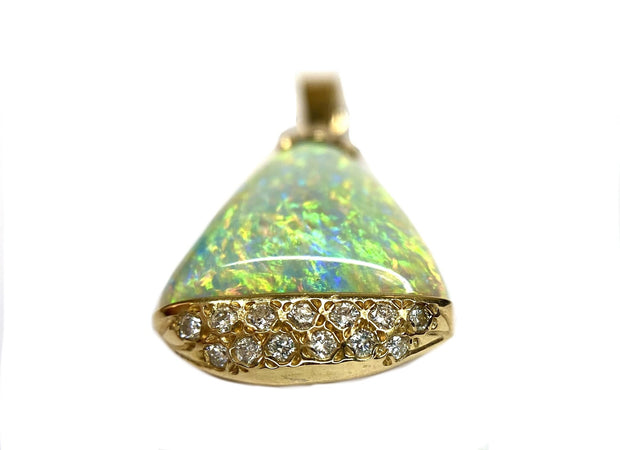 14K Yellow Gold Opal & Diamond Pendant
