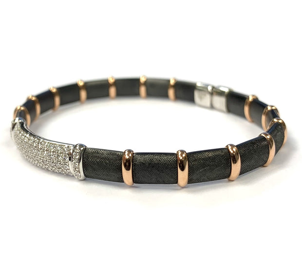 18K White Gold And Sterling Silver Firenze Diamond Henderson Bracelet