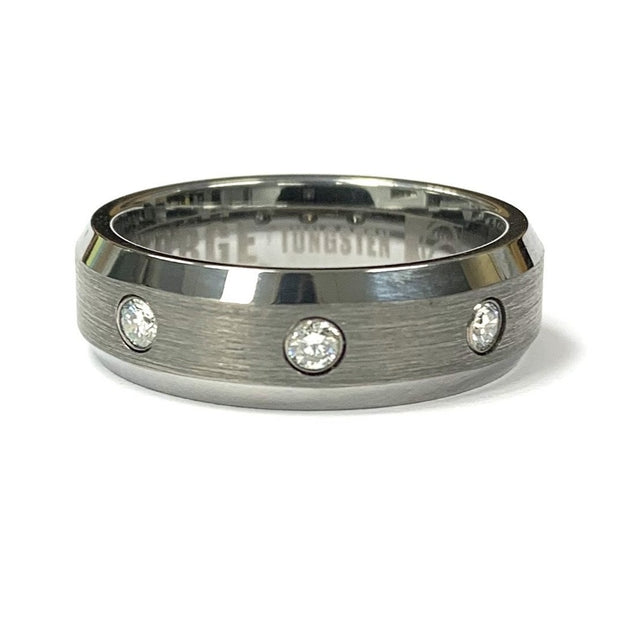 Tungsten Diamond Wedding Band
