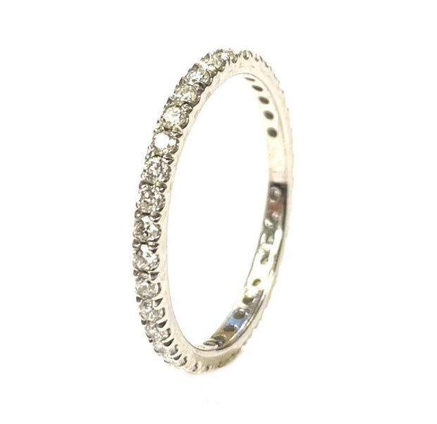 14K White Gold Diamond Eternity Stacking Band