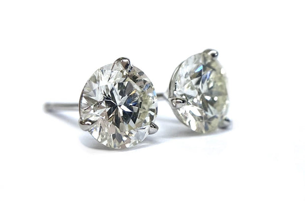 14K White Gold Diamond Studs 2.02 ctw