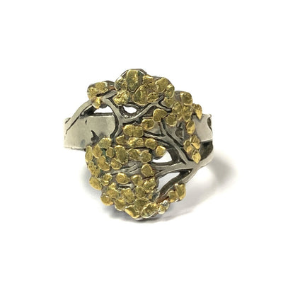 Yellow Gold and Silver Tree Ring by Wolfgang Vaatz