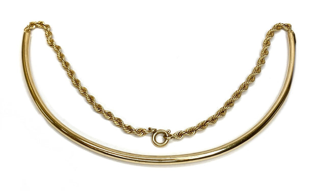 14K Yellow Gold Rope & Solid Curved Necklace