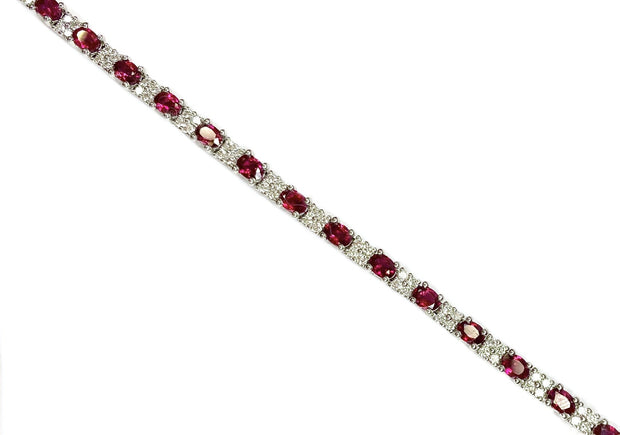 14K White gold Ruby and Diamond Tennis Bracelet 4.70 ctw