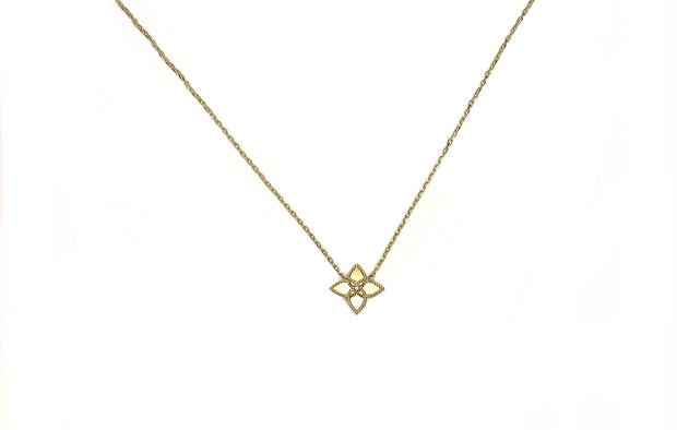14K Yellow Gold Mirrored Flower Necklace